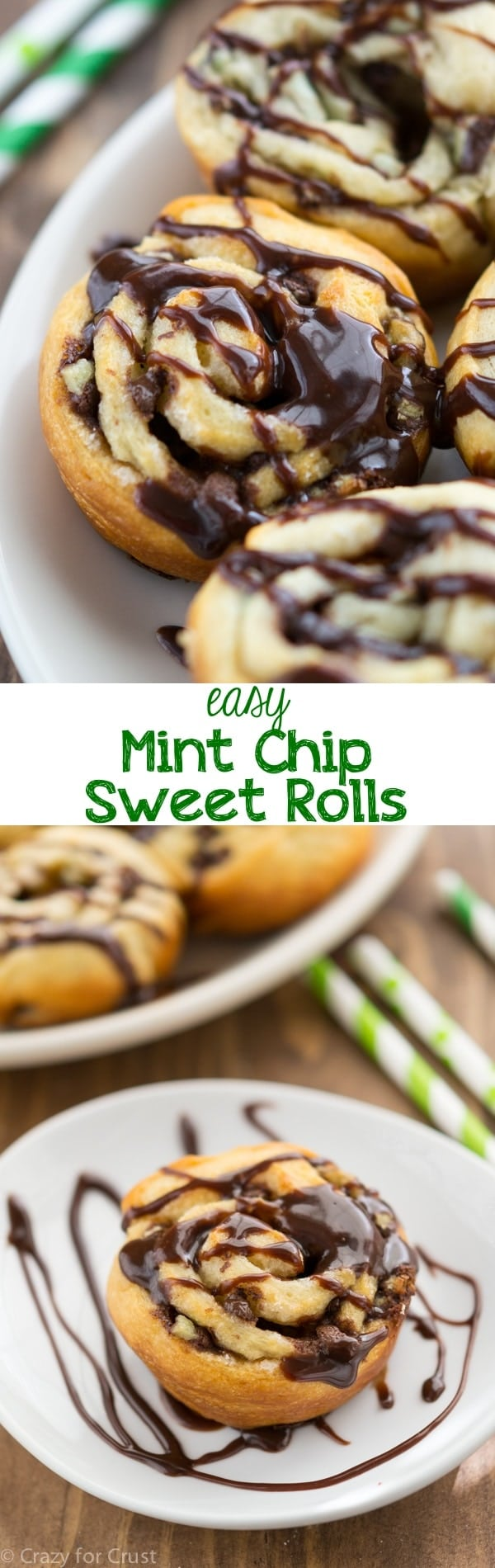 Easy Mint Chip Sweet Rolls - just a few ingredients and less than 20 minutes to have mint chip sweet rolls for breakfast!