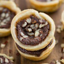 Stack of Mini Chocolate Hazelnut Chess Pies