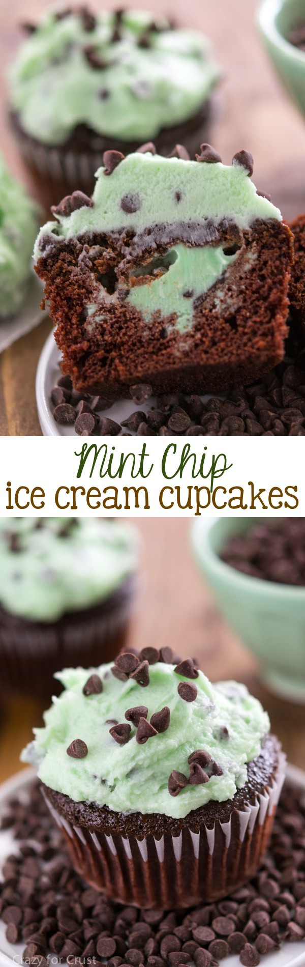 Mint Chip Ice Cream Cupcakes - fill chocolate cupcakes with mint chip ...