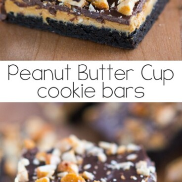 stack of peanut butter cup cookie bars with bite missing