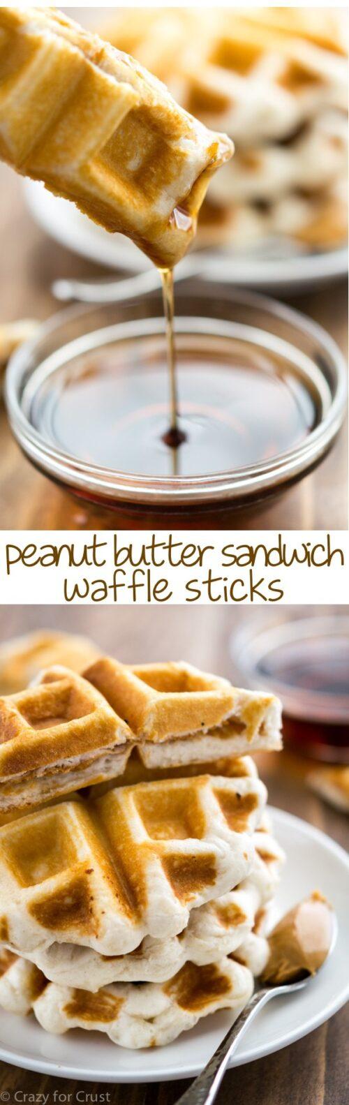 peanut butter sandwich waffles collage photos