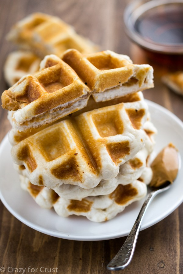 Peanut Butter Sandwich Waffle Dippers - Crazy for Crust