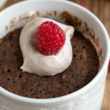 Skinny Single Serve Chocolate Raspberry Mug Cake in a white mug