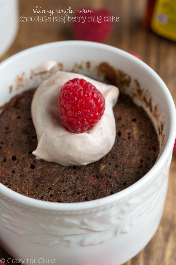 single serve chocolate raspberry mug cake
