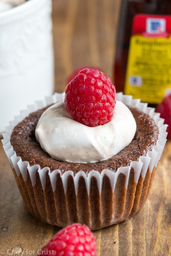 Single Serve Chocolate Raspberry Mug Cake can be made into cupcakes and baked instead of made in the microwave!