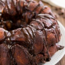 chocolate monkey bread on white plate