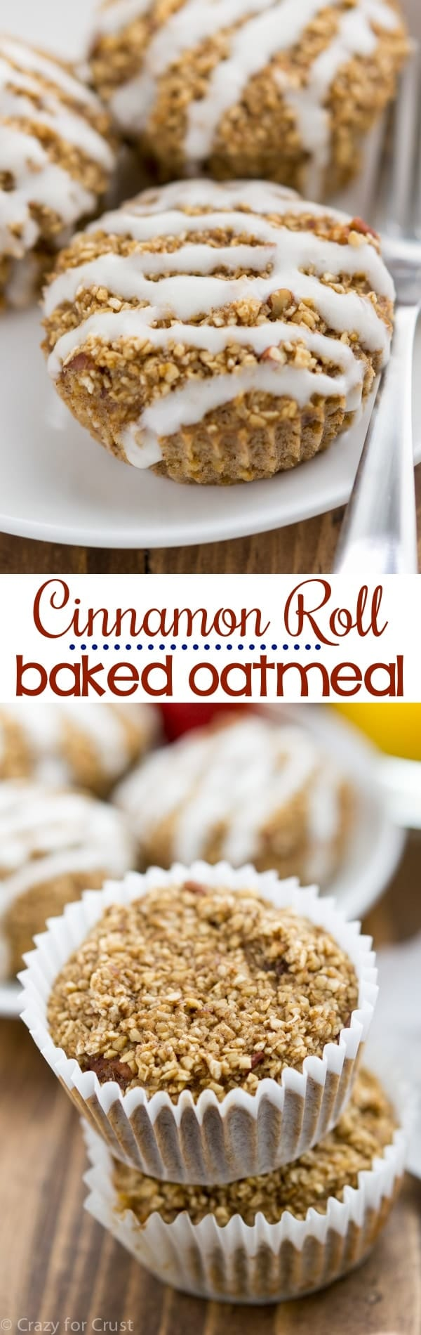 Cinnamon Roll Baked Oatmeal Muffins are an easy and healthier breakfast recipe. Baked oatmeal is always delicious, but turn them into baked oatmeal muffins and they're perfect for breakfast or snack - and the kids will love them.
