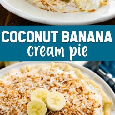 collage of coconut banana cream pie photos