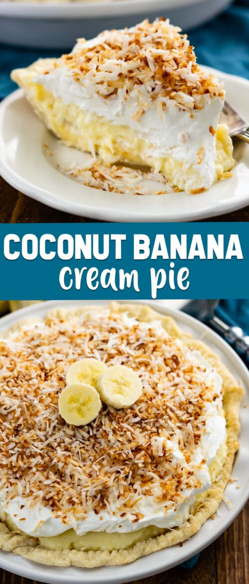 collage of coconut banana cream pie photos