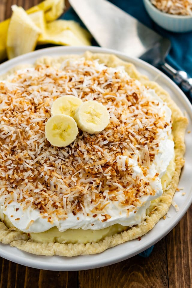 overhead shot of coconut banana cream pie
