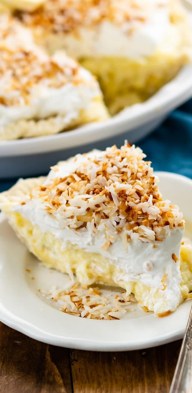 slice of coconut banana cream pie on plate