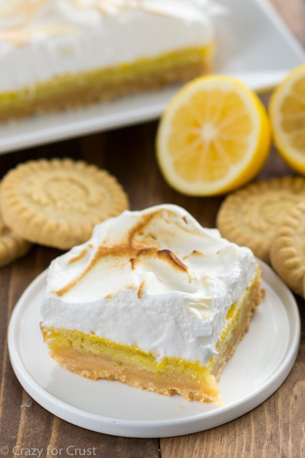 Lemon Meringue Pie Bars {Shortbread Crust} - Crazy for Crust