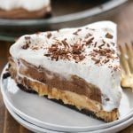 No-Bake Peanut Butter Chocolate Cream Pie on a white plate