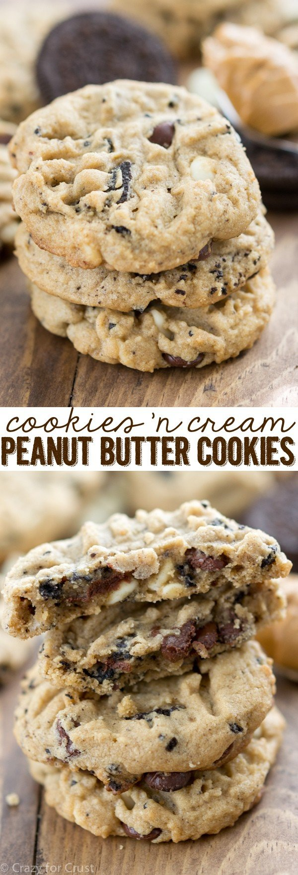 Cookies 'n Cream Peanut Butter Cookies are my favorite peanut butter cookie recipe filled with chocolate chips, white chocolate, and crushed Oreo pieces!