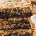 brownie cookie bar with butterscotch in a stack of 3