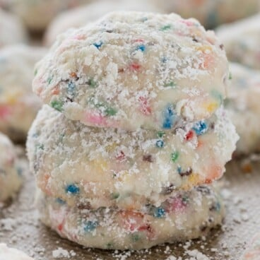 Stack of Funfetti Cake Batter Wedding Cookies