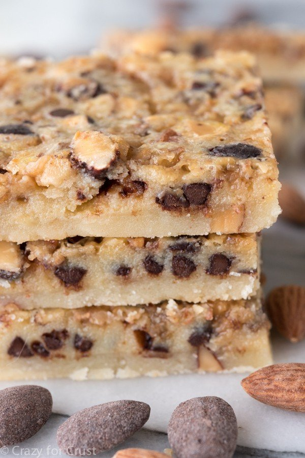 Chocolate Toffee Almond Shortbread Bars - Crazy for Crust