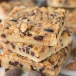 Stack of Chocolate Toffee Almond Shortbread Bars