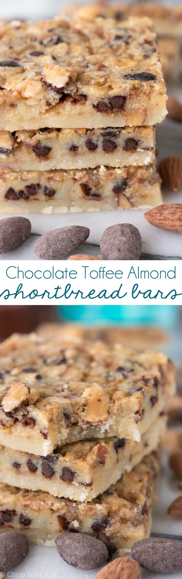 These Chocolate Toffee Almond Shortbread Bars have a thick shortbread crust and a gooey filling with chocolate, toffee, and almonds collage