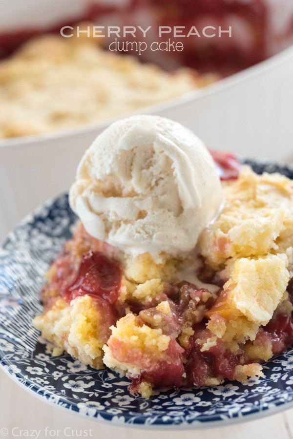 Easy Cherry Peach Dump Cake - just a few ingredients!