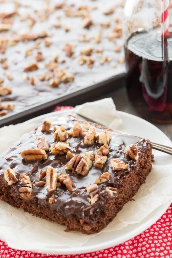 An easy, fast, egg-free chocolate Coca Cola Sheet Cake recipe!