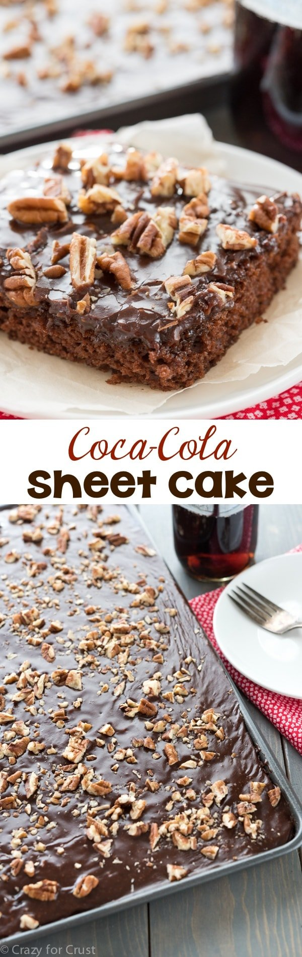 This Coca Cola Sheet Cake is perfect for a potluck! It's and easy recipe that's fast, and egg-free with the BEST frosting ever!