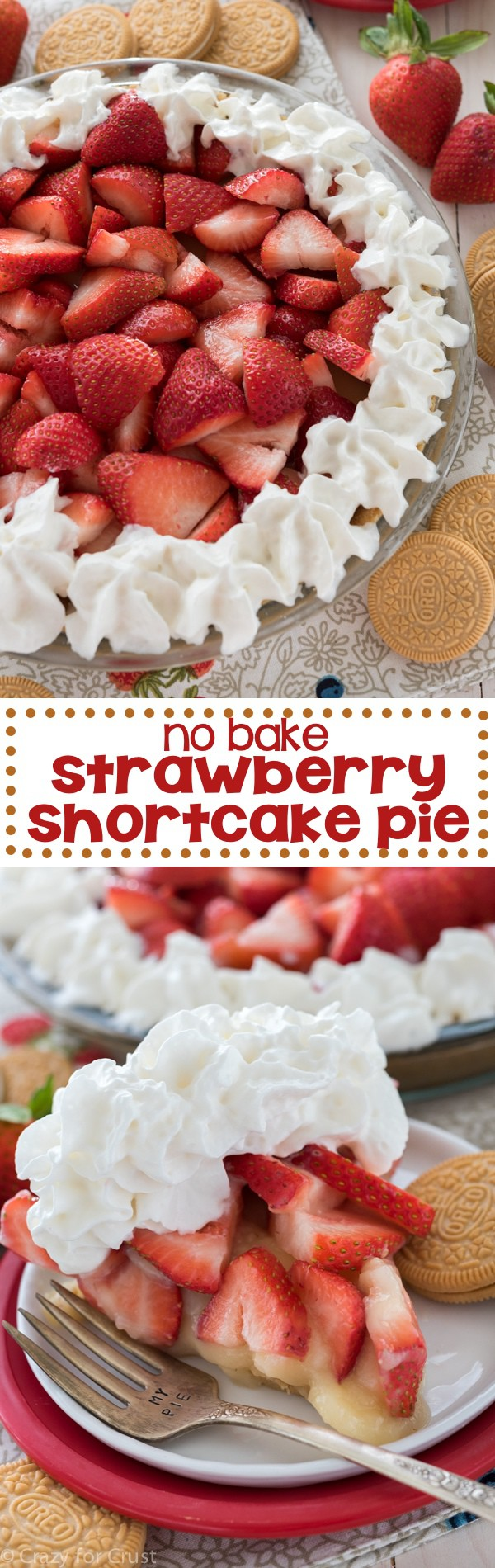 EASY No Bake Strawberry Shortcake Pie - just a few ingredients to a fresh summer pie!