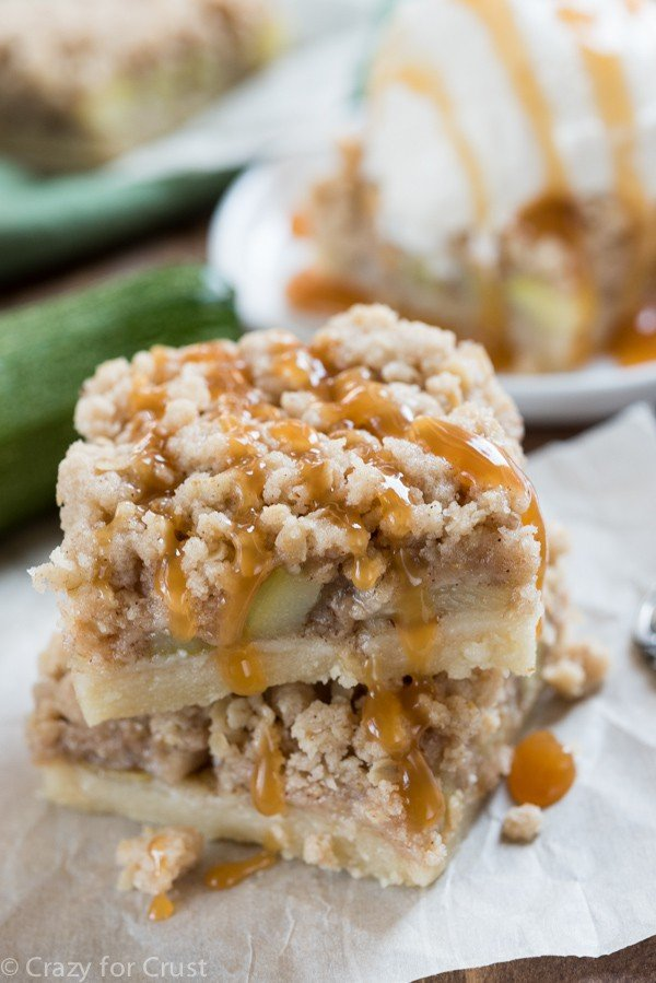 Zucchini Pie Bars with shortbread crust and crumble topping!