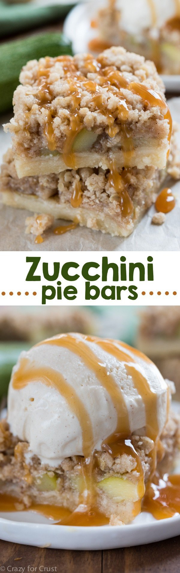 Zucchini Pie Bars! Cooking zucchini like this makes it taste like apple pie!
