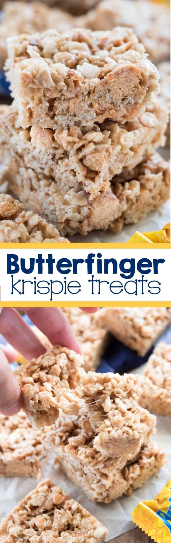 The BEST recipe: EASY Butterfinger Krispie Treats! Make them in less ...