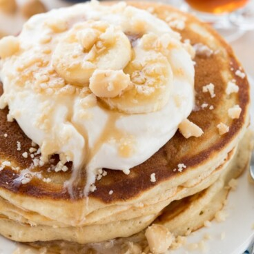 Buttermilk Banana Pancakes on a white plate