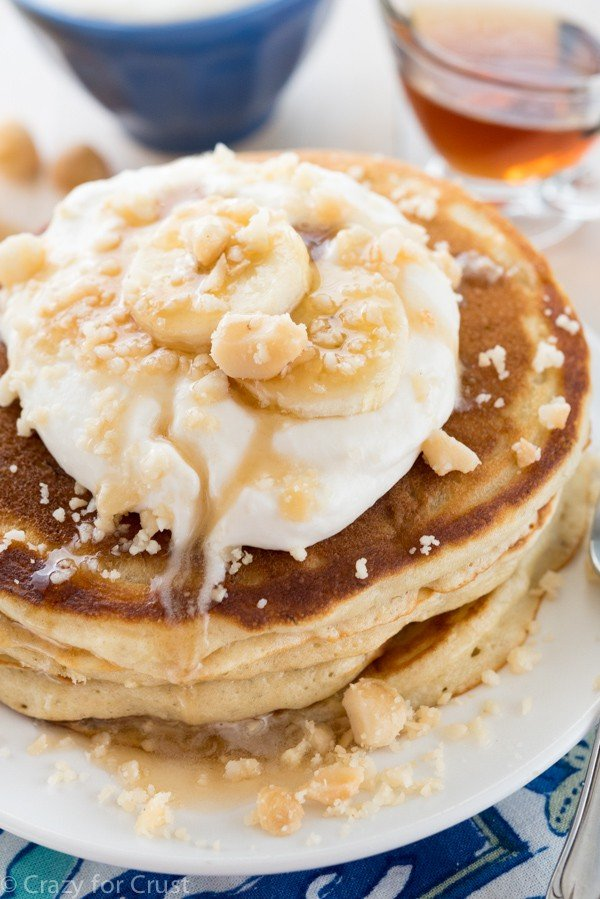 Buttermilk Banana Pancakes - an easy pancake recipe topped with ...