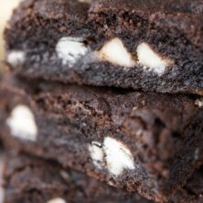 Close up stack of Gooey Oreo Cookie Bars