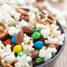 Homemade Kettle Corn Snack Mix in a dark bowl