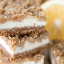 Stack of Lemon Crumble Cheesecake Bars