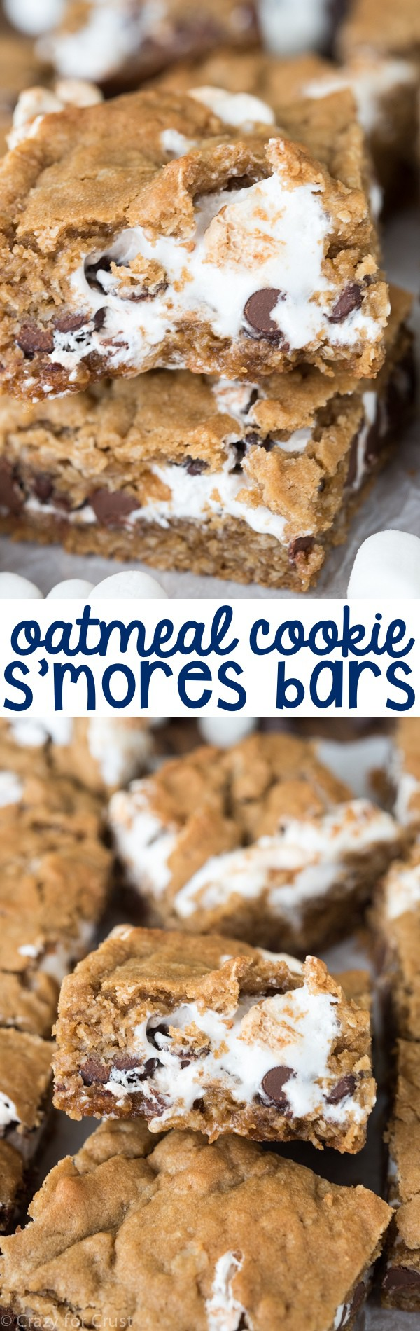 Easy Oatmeal Cookie S'mores Bars Recipe! A gooey oatmeal cookie bar filled with marshmallow and chocolate - the perfect indoor s'mores!