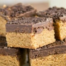 Stack of Peanut Butter Cookie Fudge Bars