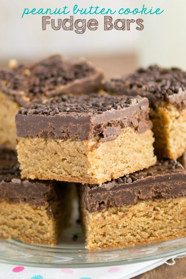 These EPIC Peanut Butter Cookie Fudge Bars are a recipe for a peanut butter cookie bar topped with chocolate fudge!