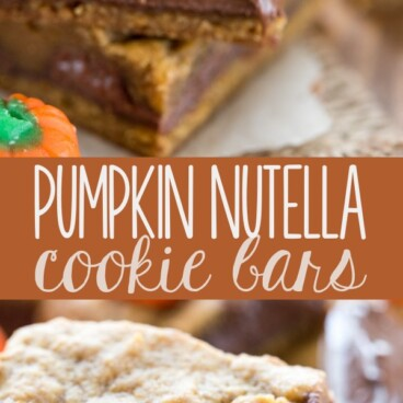 Collage of Pumpkin Nutella Cookie Bars