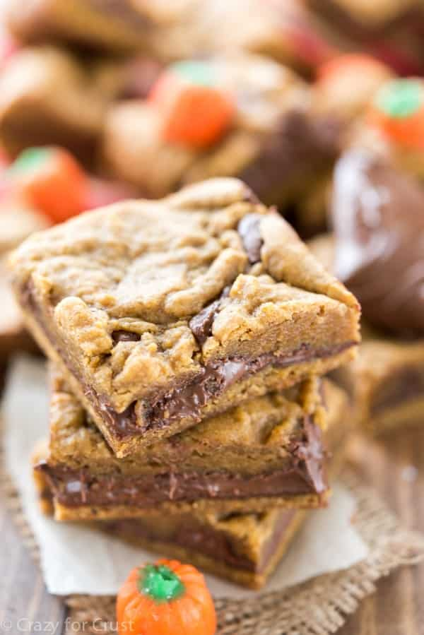 Pumpkin Nutella Cookie Bars