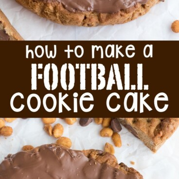 Collage of How to make a Football Cookie Cake