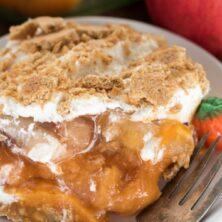 Pumpkin Apple No Bake Dessert on a white plate with a fork