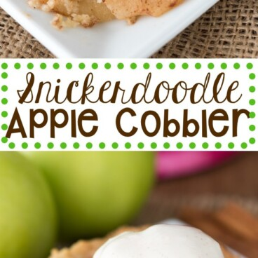 Snickerdoodle apple cobbler collage photo with words in the middle