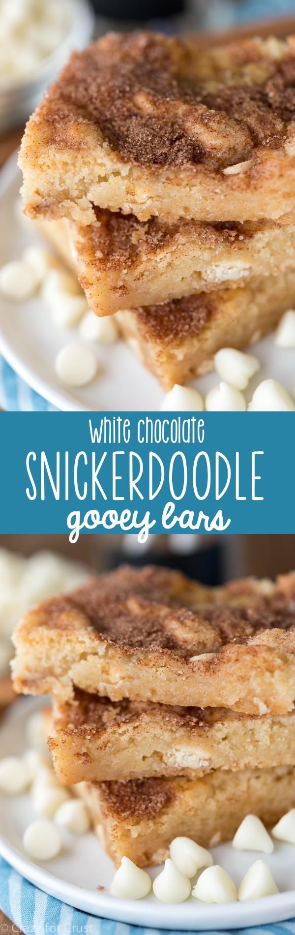 White Chocolate Snickerdoodle Gooey Bars
