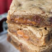 Stack of Caramel Milky Way Blondies