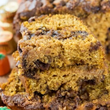 Slices of Peanut Butter Cup Pumpkin Bread