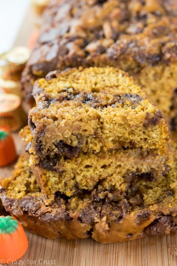 Easy Peanut Butter Cup Pumpkin Bread Recipe made with Reese's Peanut Butter Cups!