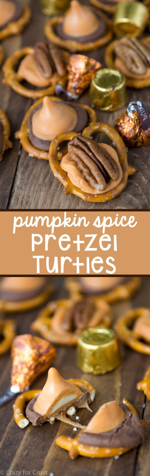 Pumpkin Spice Pretzel Turtles - only 3 ingredients that taste SO GOOD!