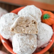 Orange bowl of Pumpkin Spice Snowballs