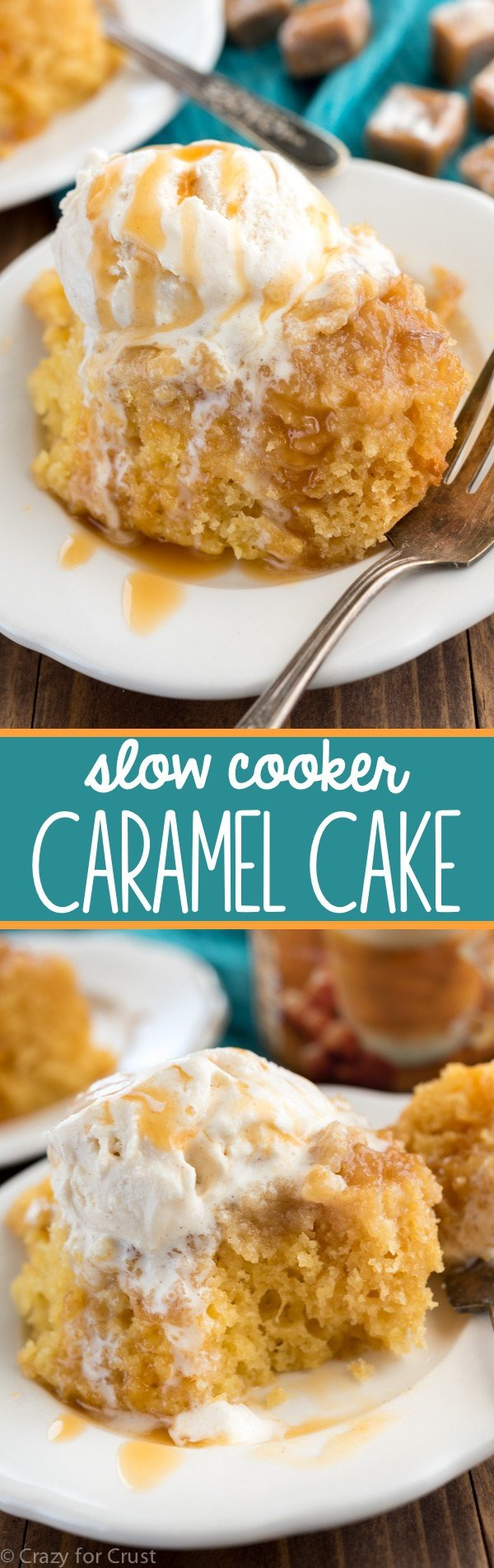 This EASY Slow Cooker Caramel Cake is the perfect recipe! There's caramel in every bite of this sweet and moist cake recipe. It became a fast family favorite!